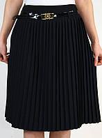Плиссированная синяя юбка 42-48 р