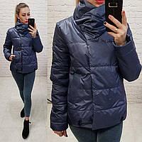 Куртка весна/осень, плащевка лак, модель 1004, цвет - темно синий