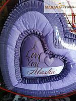 Комплект покрывало + 2 подушки СЕРДЦЕ атлас двухспальное (210×180)