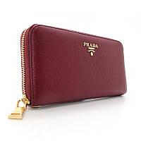 eb77326d6999 Бордовый кожаный кошелек Prada женский класический на молнии pd-3002-14 bor