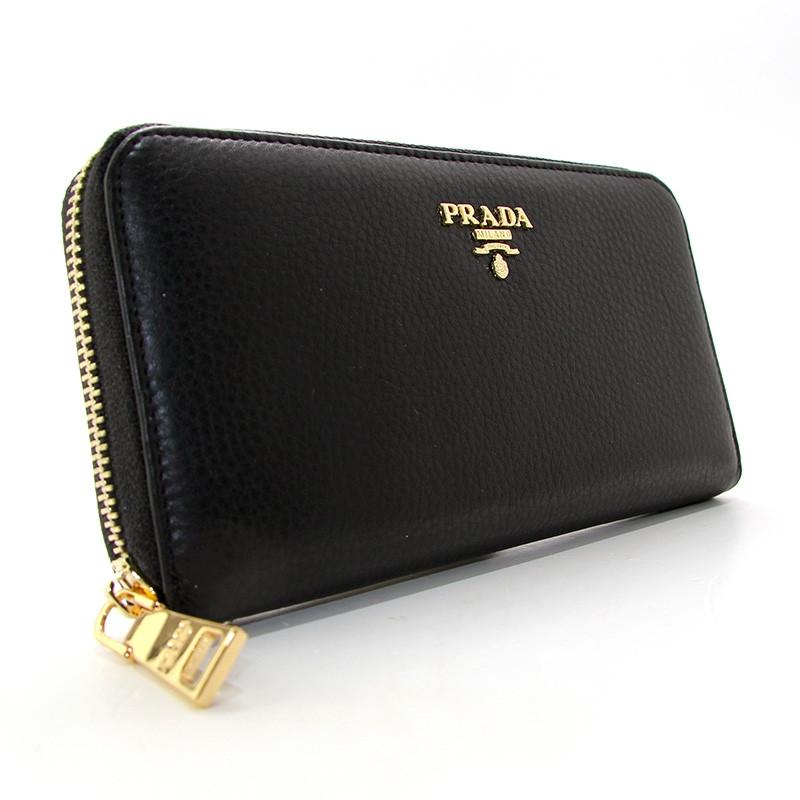 5bfe3c70ed8d Черный кожаный кошелек Prada женский на молнии pd-3002-01 bla, фото 1