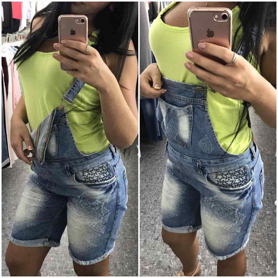 Ультрамодный джинсовый комбинезон с шортами
