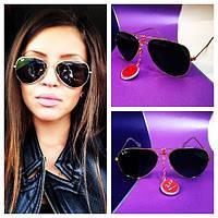 """Солнцезащитные черные очки стекло """"Ray Ban"""", фото 1"""