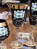 Набор стаканов для вина ЛЕПКА СМАЛЬТА Чёрная золото  250 мл