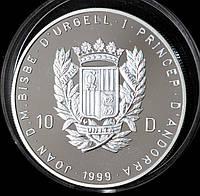 Серебренная монета Андорры 10 динер 1999 г. Пруф