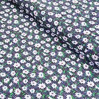 Ситець з білими квіточками на темно-синьому тлі, ширина 80 см, фото 1