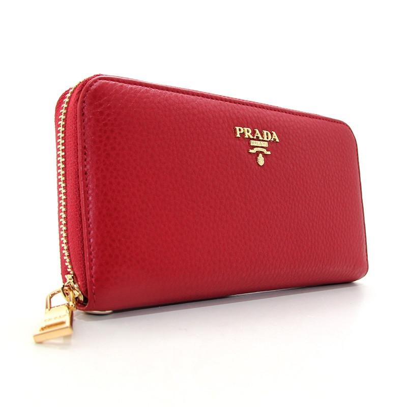 Кошелек кожаный женский на молнии красный Prada 3002-09