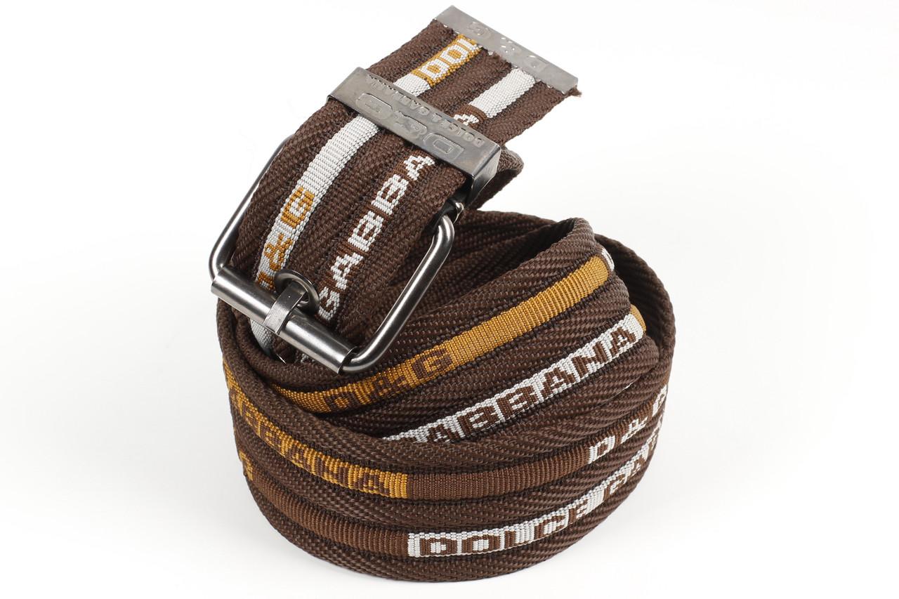 Ремень мужской унисекс джинсовый тканевый брэнд 45 мм коричневый