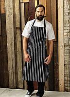 Фартук для официанта Atteks с нагрудником длинный в полоску без карманов - 00216