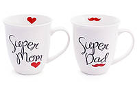 "Набор фарфоровых чашек ""Супер-мама и супер-папа"", 6 чашек, (500мл)"