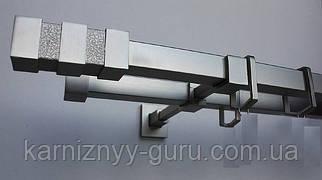Карниз для штор квадро 20х20 мм, двойной, наконечник Нептун