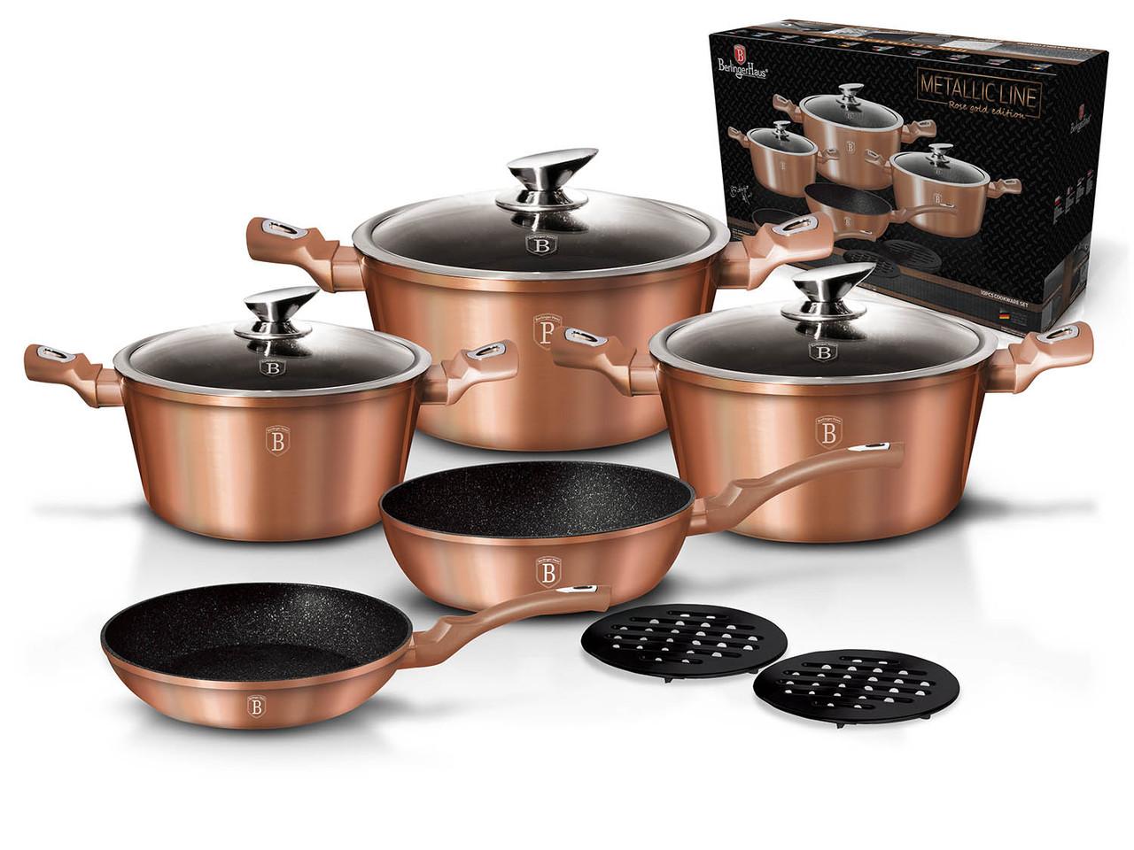 Уникальный набор посуды Berlinger Haus Metallic Line Rosegold Edition на 10 предметов (BH-1220N)
