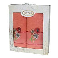 Подарочный набор полотенец в коробке 2шт - Gulcan Cotton 50х90+70х140 маки оранжевый