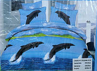 Постельного белье Евро-размер 4 наволочки - Дельфины