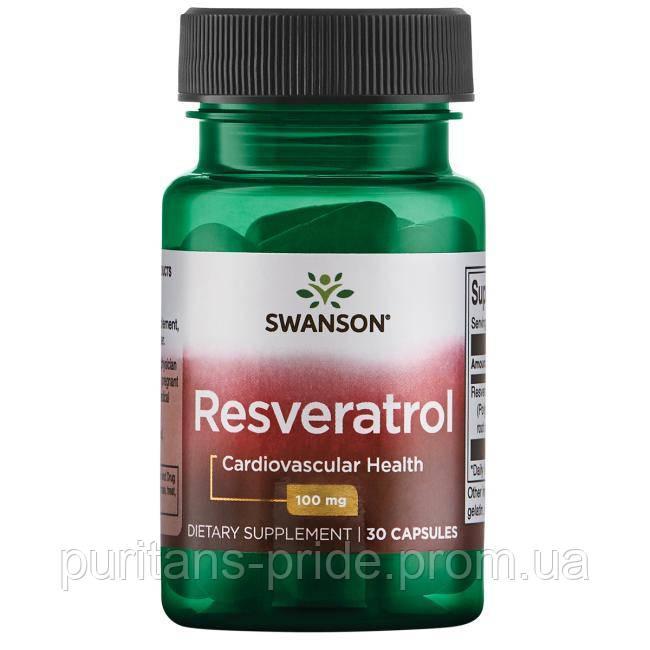 Антиоксидант Ресвератрол, Resveratrol Swanson,100 мг, 30 капсул