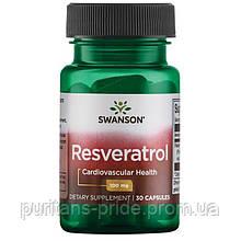 Ресвератрол антиоксидант, Resveratrol Swanson,100 мг, 30 капсул