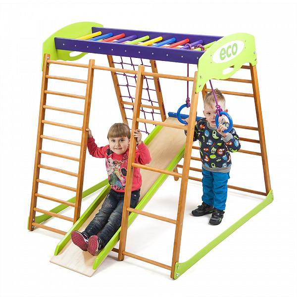 Акция! Деревянный Детский спортивный комплекс для квартиры для малышей «Карамелька мини» Спортбейби SportBaby