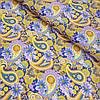 Ситец с желтыми и сиреневыми турецкими огурцами и цветами, ширина 80 см