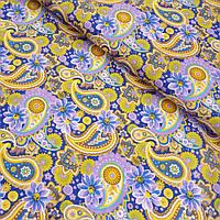 Ситец с желтыми и сиреневыми турецкими огурцами и цветами, ширина 80 см, фото 1