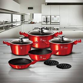 Уникальный набор посуды Berlinger Haus Metallic Line Burgundy Edition на 10 предметов (BH-1222N)