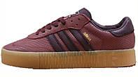 Женские кроссовки Adidas Samba Rose Burgundy / Gum (адидас самба, бордовые)