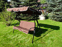 Садовая стальная качеля с козырьком 3-х местная Majka (коричневая!)