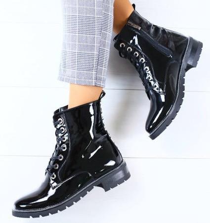 0224f45d ... фото Модные демисезонные женские кожаные ботинки полусапожки на низком  ходу со шнуровкой черные лак J40SE92Е, ...