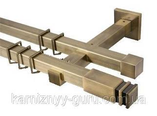 Карниз для штор квадро 20х20 мм, двойной, наконечник Занотти