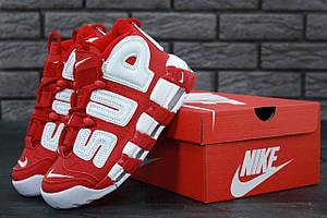 Високі кросівки Nike Air More Uptempo X Supreme Red (Найк Аїр Мор Аптемпо х Супрім червоного кольору) 36-45