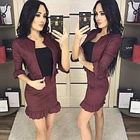 6d9e76ddf2f Женский юбочный замшевый костюм тройка топ юбка и пиджак с рюшами 42-44