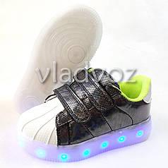 Детские светящиеся кроссовки для мальчика с led подсветкой USB белые 27р 17см