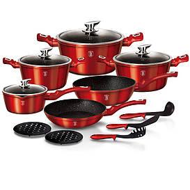 Набор кухонной посуды Berlinger house BH 1226N Metallic Line Burgundy Edition на 15 предметов с антипригарным
