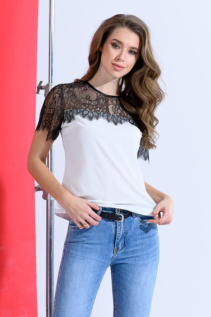 Блуза  кружево стильная белая 04р1573
