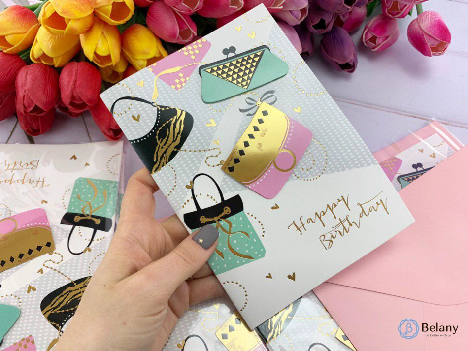 """Для девушки на День Рождения открытка """"BIRTHDAY#4-8"""" поздравительная открытка"""