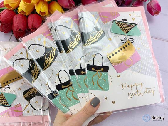 """Для девушки на День Рождения открытка """"BIRTHDAY#4-8"""" поздравительная открытка, фото 2"""