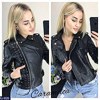 Женская кожанная черная куртка косуха