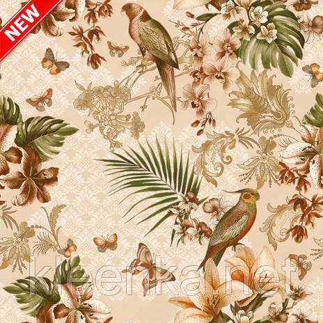 Клеенка Декорама  на кухонный стол с цветами и птицами