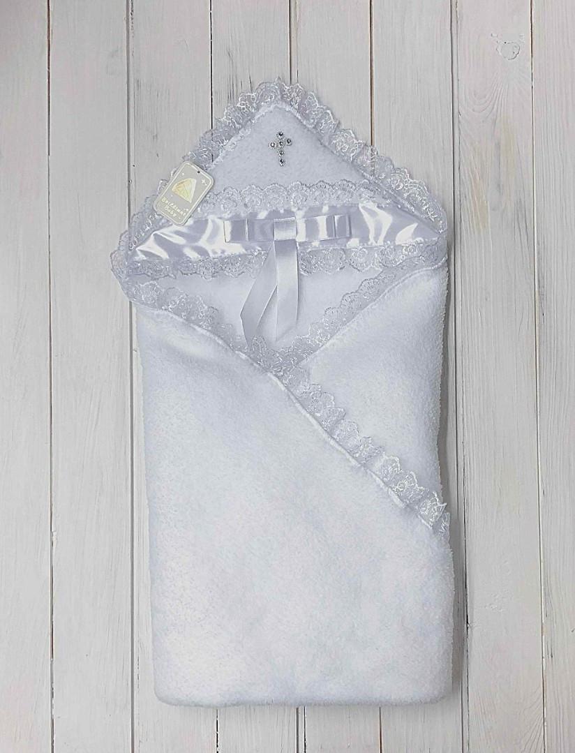 Крыжма для крестин Бантик с серебряным крестиком (белая)
