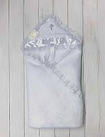 Крыжма для крестин Бантик с серебряным крестиком (белая), фото 1