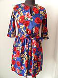Плаття з пишною спідницею з тонкого джинс-котону, р. 46 (білий), 48 (електрик) код 1459М, фото 2