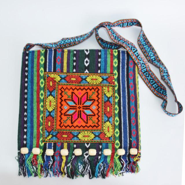 сумка тканая с вышивкой