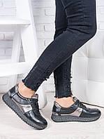 Кросівки шкіра чорний графіт Лола 6921-28, фото 1