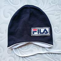 Легкая детская шапка с завязками Fila