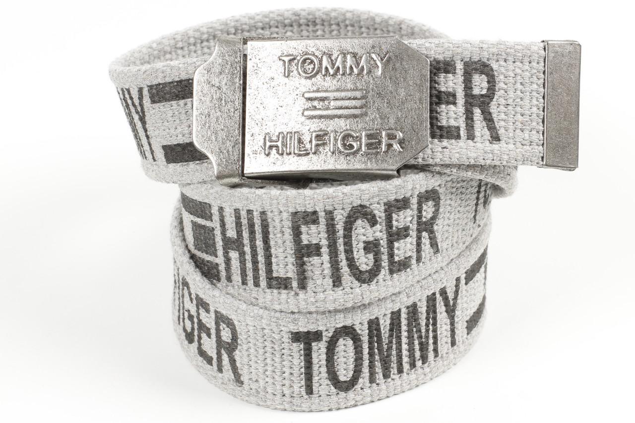 Ремень мужской унисекс джинсовый тканевый брэнд 40 мм светло-серый