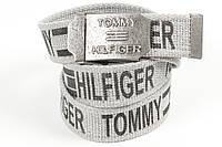 Ремень мужской унисекс джинсовый тканевый брэнд 40 мм светло-серый, фото 1