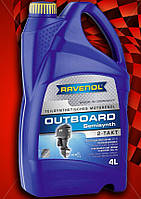 Масло RAVENOL двухтактное полусинтетика Равенол 2Т для лодочных моторов катеров яхт Outboard 4л
