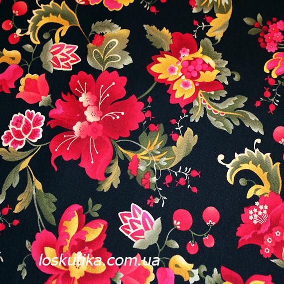12008 Народная роспись. Ткань для рукоделия, декора, пэчворка и шитья. Текстиль. Интерьерные ткани.