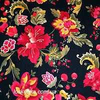 12008 Народная роспись. Ткань для рукоделия, декора, пэчворка и шитья. Текстиль. Интерьерные ткани., фото 1