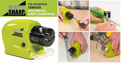 Автоматическая электрическая точилка для ножей Swifty Sharp Зеленая (батарейках), Электрическая ножеточка, фото 3