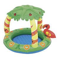 Бассейн надувной детский с дном и защитой от солнца BESTWAY 52179